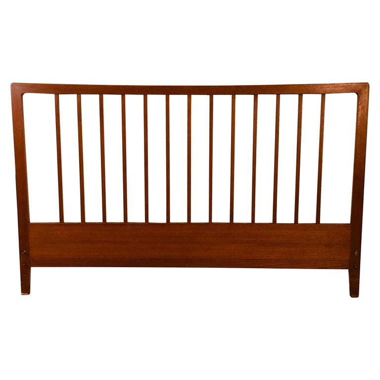 Povl Dinesen Danish Teak Spindle Back Queen Headboard