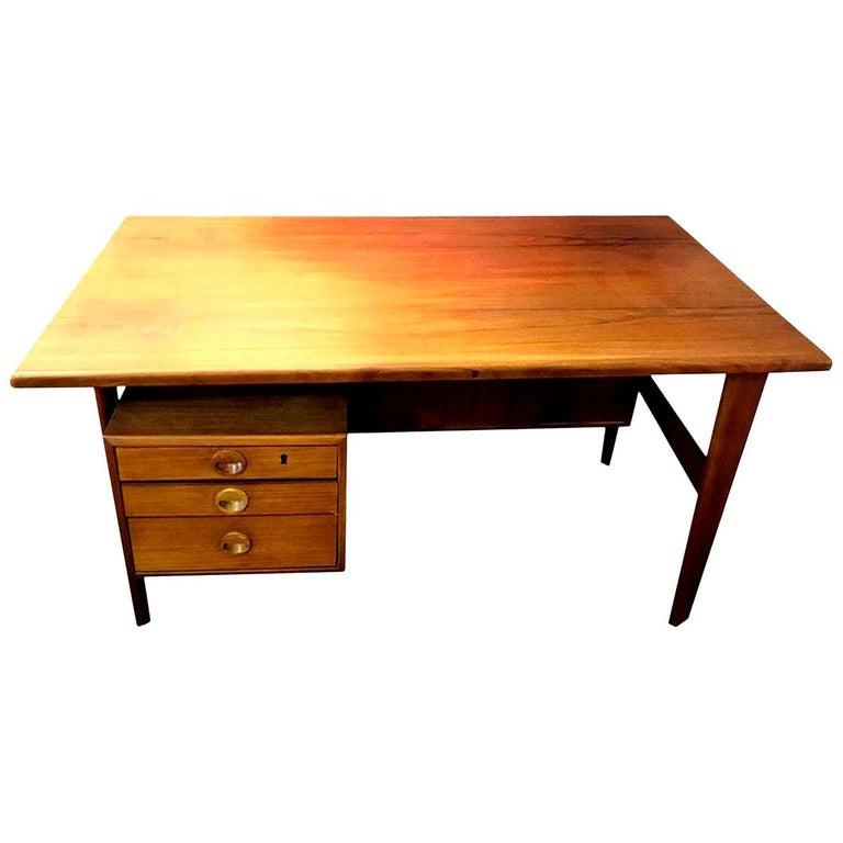 Povl Dinesen Midcentury Teak Desk and Chair by Danish Designer Kai Kristiansen For Sale