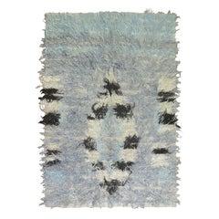 Powder Blue Abstract Vintage Turkish Tulu Mid-20th Century Shag Rug