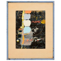Powder Blue Mixed Collage Abstract Modern by Fred LAROS 1966 NYC Funky Art