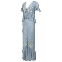 Powder Blue Printed Chiffon Regency Peignoir Dressing Gown, Italy - S-M, 1930s