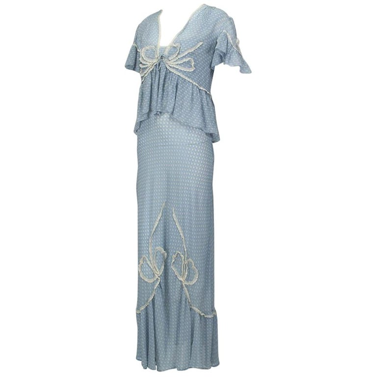 Powder Blue Printed Chiffon Regency Peignoir Dressing Gown, Italy - S-M, 1930s For Sale