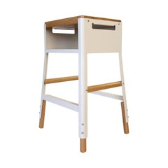 Powder Coated Steel and White Oak Stool with Cubby, Counter, Oyster White
