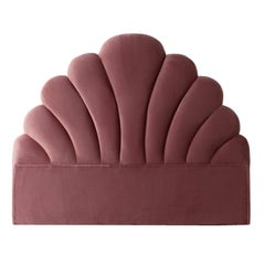 Powdery Pink Velvet and Art Deco Style Queen Size Headboard