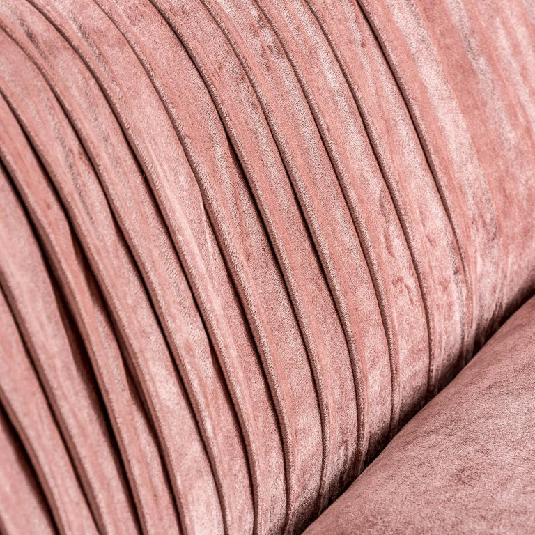 Powdery Pink Velvet Sofa Art Deco Style In New Condition For Sale In Tourcoing, FR