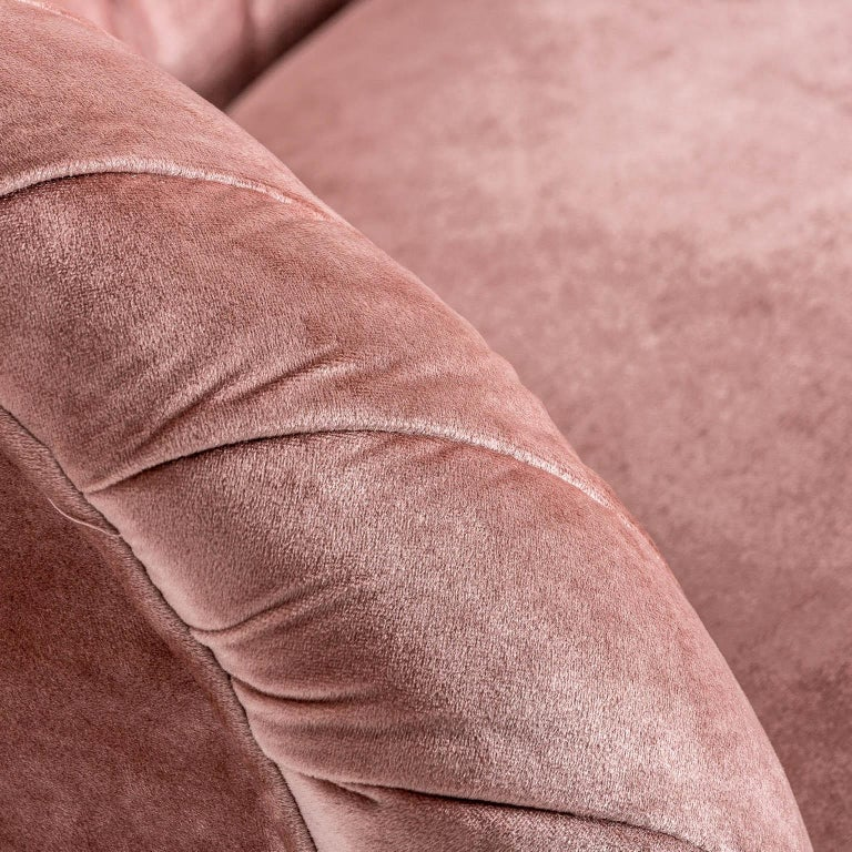 Contemporary Powdery Pink Velvet Sofa Art Deco Style For Sale