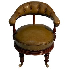 Power Broker Rotating English Leather Library or Desk Chair
