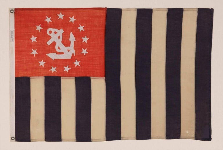 POWER SQUADRONS ENSIGN, MADE BY ANNIN IN NEW YORK CITY, 1914-1920's:  The Power Squadron of the Boston Yacht Club was formed in 1914. It was the first organization in the new sport of power boating and was dedicated to educating and training power