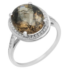 Powerful Halo Natkina Smoky Quartz White Diamond Precious White Gold Ring
