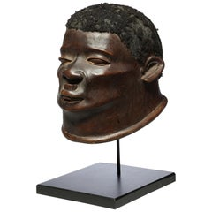 Powerful Makonde Portrait Helmet Mask with Lip Plug Tanzania, Early 20th Century