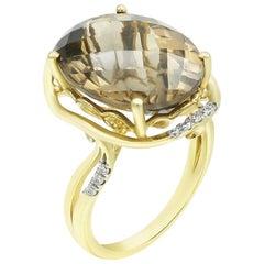 Powerful Sand Color Natkina Quartz White Diamond Precious Yellow Gold Ring