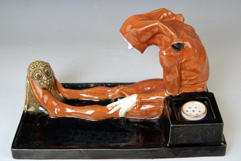 Michael Powolny excellent Art Nouveau item: Writing Equipment to which sculptured figurine of Till Eulenspiegel is attached - it is a quite rare ceramics item, indeed ! Modelled by Michael Powolny (1871-1954), circa