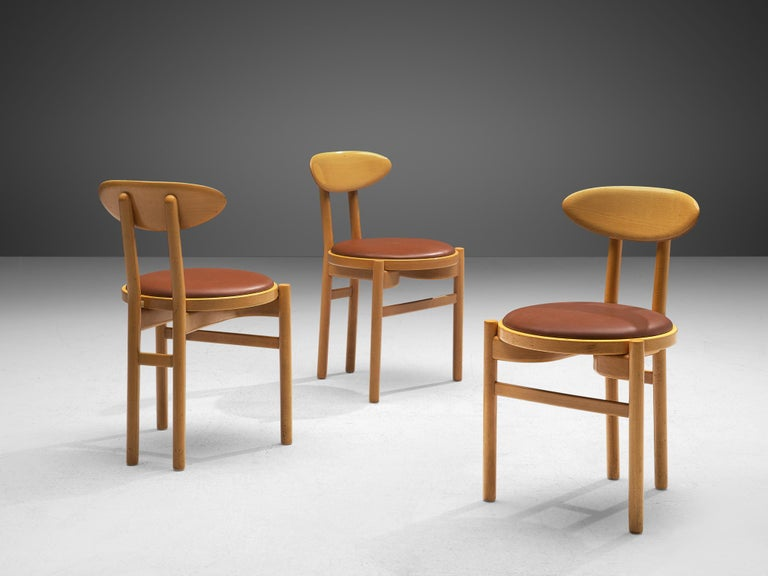 Pozzi Italian Dining Chairs in Beech  For Sale 5