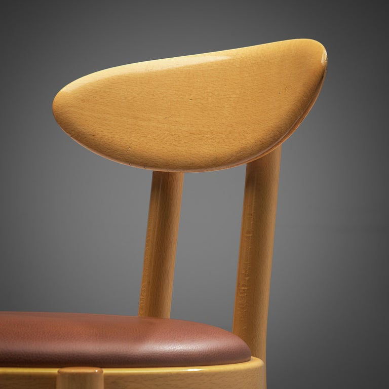 Mid-Century Modern Pozzi Italian Dining Chairs in Beech  For Sale