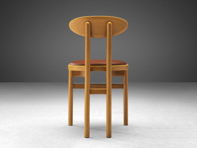 Late 20th Century Pozzi Italian Dining Chairs in Beech  For Sale