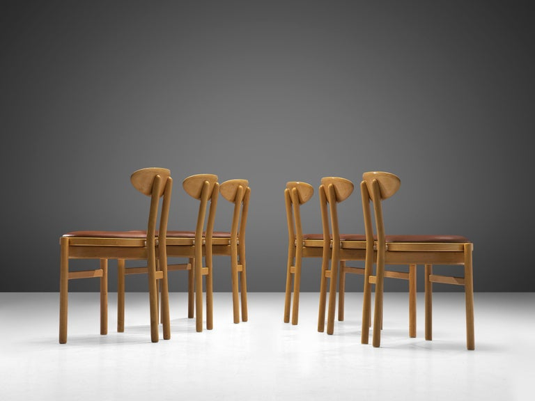 Faux Leather Pozzi Italian Dining Chairs in Beech  For Sale