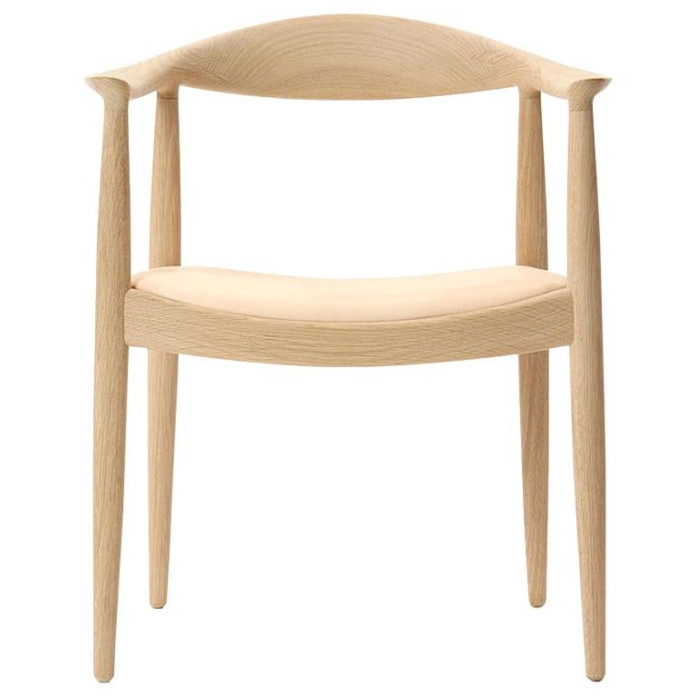Scandinavian Modern PP503 Round Chair by Hans J. Wegner for PP Møbler in Oak and Natural Leather For Sale