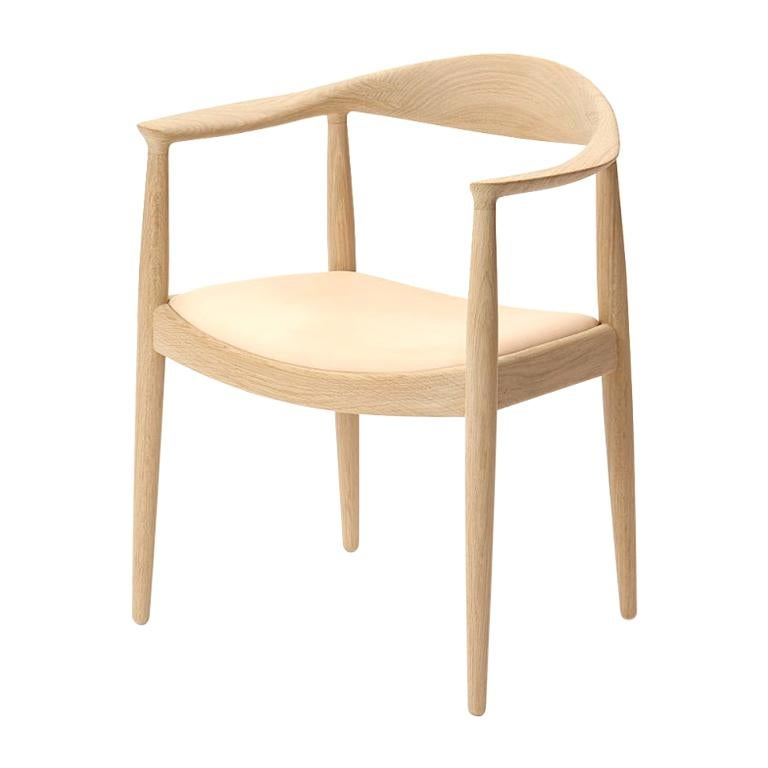 PP503 Round Chair by Hans J. Wegner for PP Møbler in Oak and Natural Leather For Sale