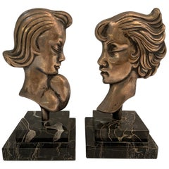 Pair of Midcentury Silvered Bronze French Deco Head Statuettes on Marble Bases