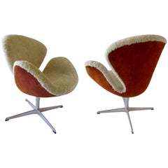 Pr Arne Jacobsen Limited Edition Shearling and Suede Swan Chairs, Fritz Hansen