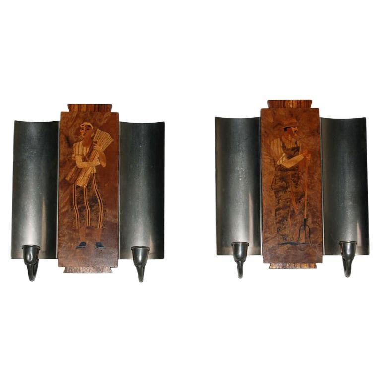 PR Art Deco Intarsia Sconces by Birger Ekman for Molby Intarsia