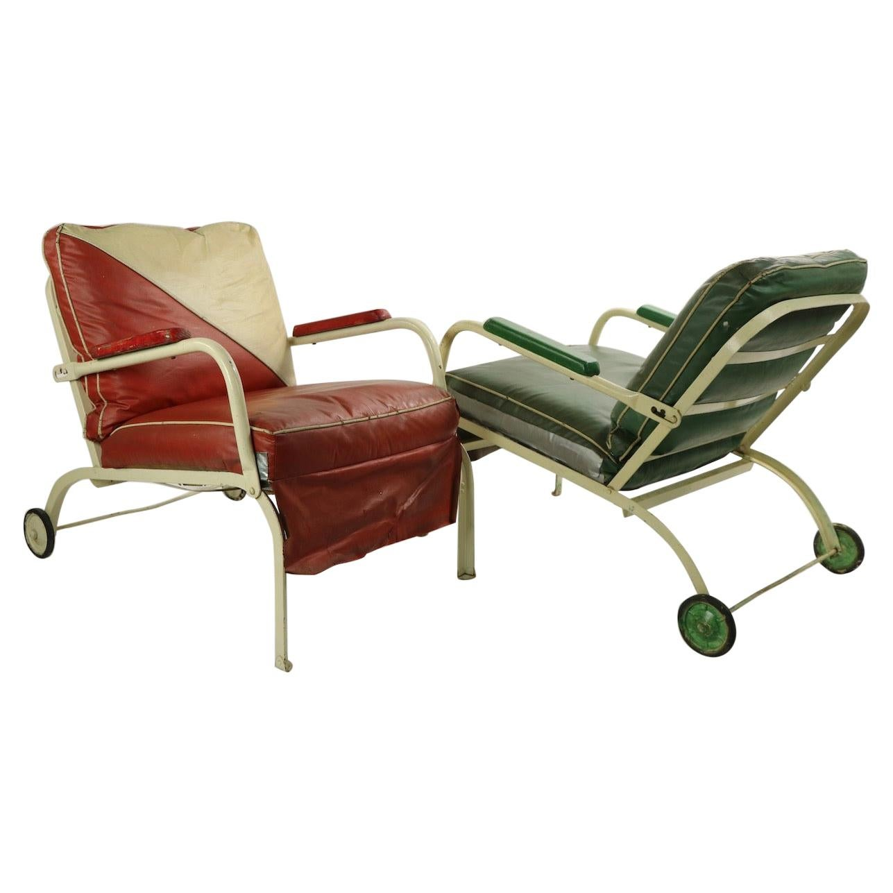 Pair of Art Deco Outdoor Porch Garden Reclining Lounge Chairs