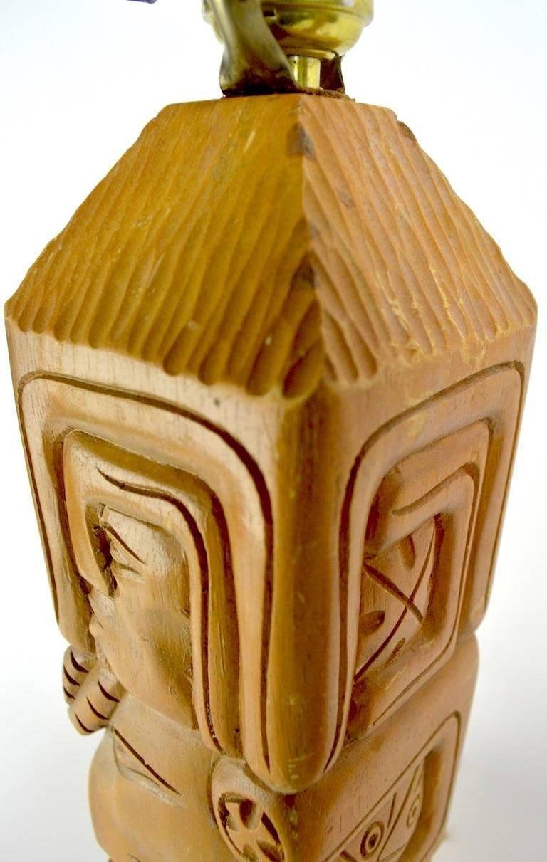 American Pair of Aztec Motif Carved Wood Tiki Lamps For Sale