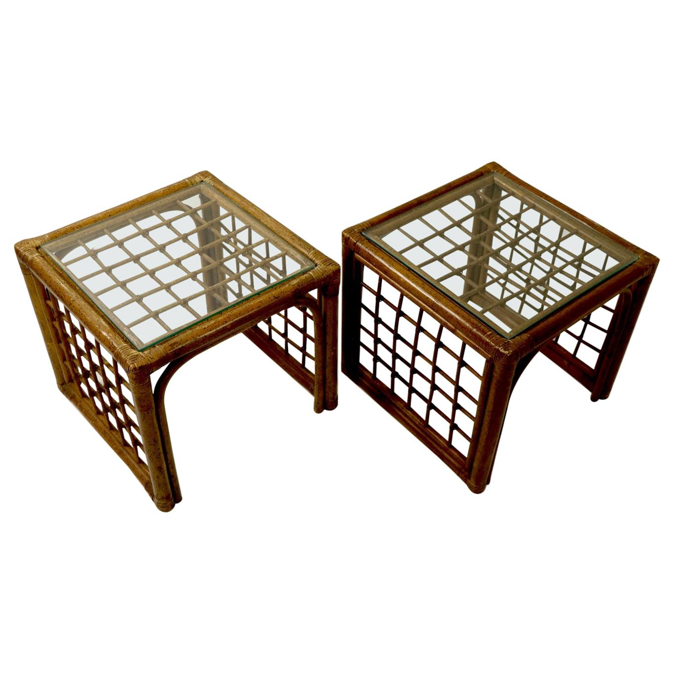 Pair of Bamboo and Glass Tables