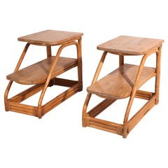 Pr. Bamboo and Oak Two Tier End Tables