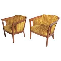 Pair of Barrel Back Lounge Chairs Att. to Widdicomb