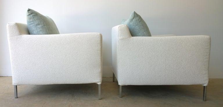 Pr B&B Italia Lounge Chairs w/ Chrome Legs & New White Upholstered Slip Covers For Sale 1
