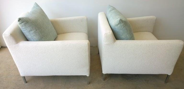 Pr B&B Italia Lounge Chairs w/ Chrome Legs & New White Upholstered Slip Covers For Sale 2