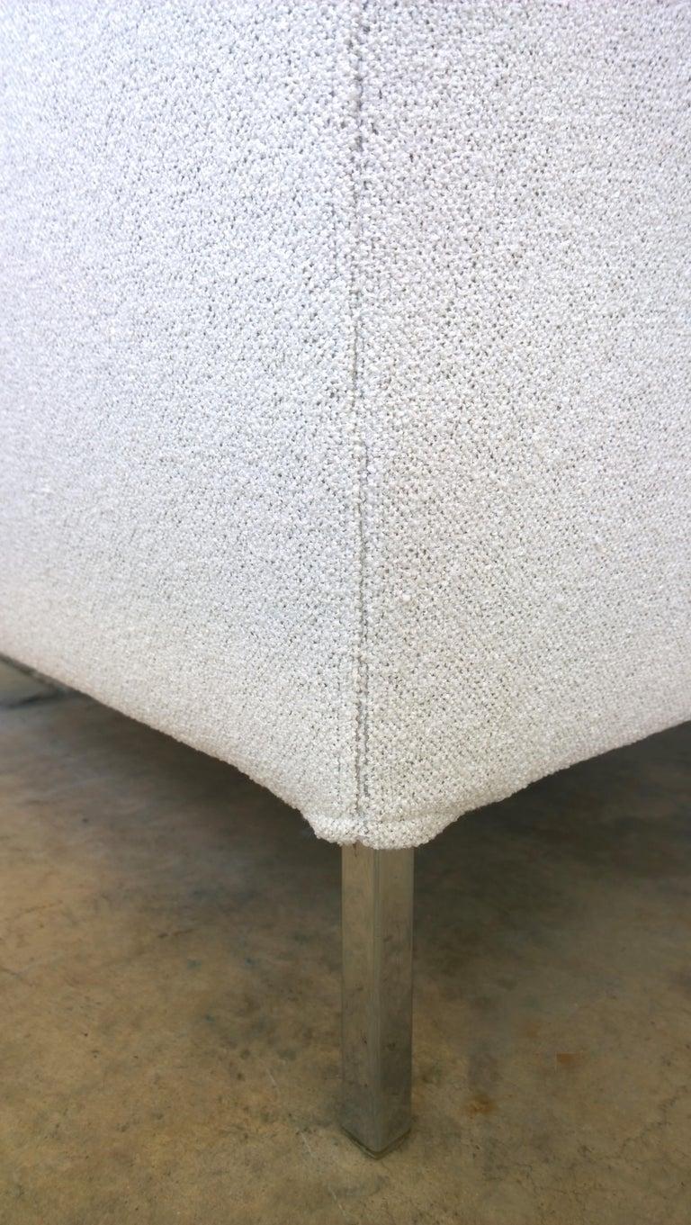 Pr B&B Italia Lounge Chairs w/ Chrome Legs & New White Upholstered Slip Covers For Sale 4