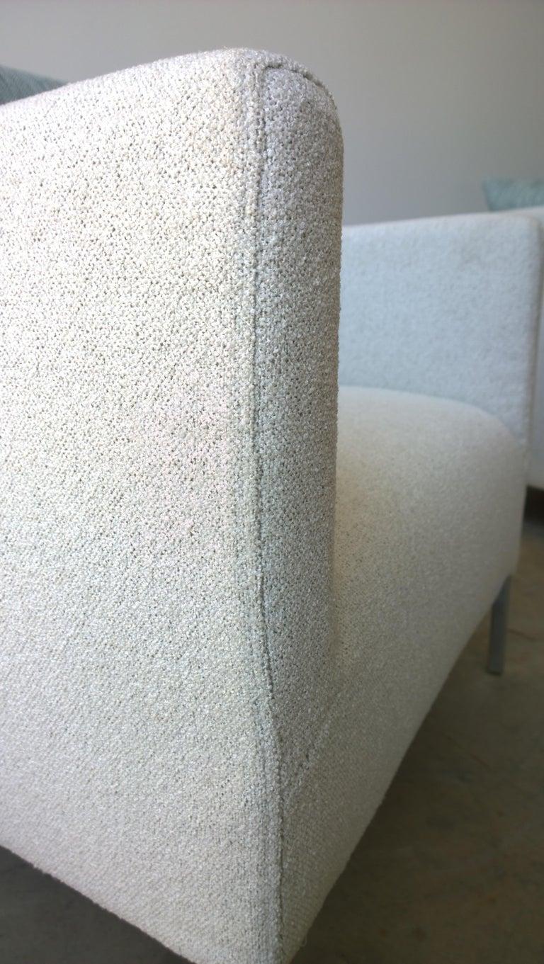 Pr B&B Italia Lounge Chairs w/ Chrome Legs & New White Upholstered Slip Covers For Sale 5
