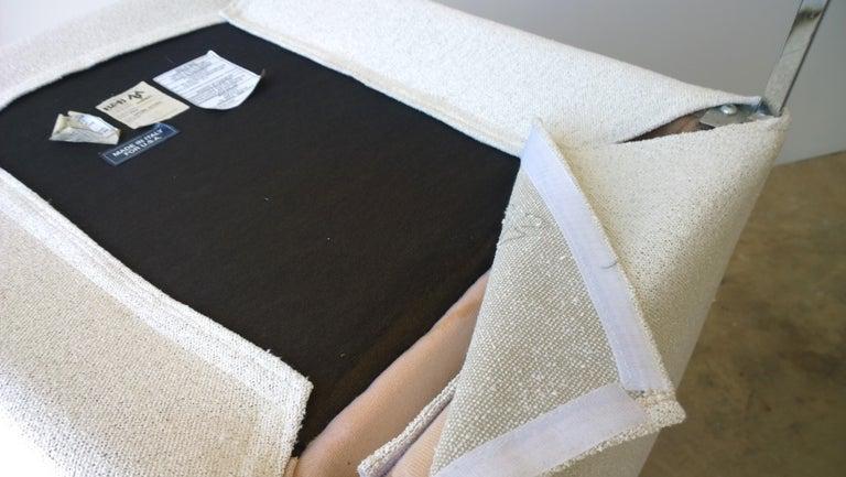 Pr B&B Italia Lounge Chairs w/ Chrome Legs & New White Upholstered Slip Covers For Sale 11