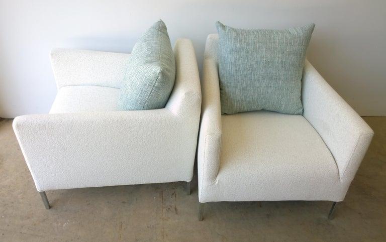 Pr B&B Italia Lounge Chairs w/ Chrome Legs & New White Upholstered Slip Covers For Sale 3