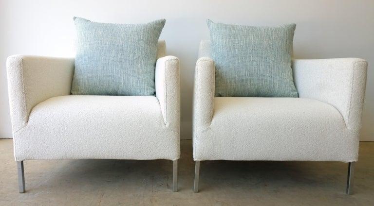 Modern Pr B&B Italia Lounge Chairs w/ Chrome Legs & New White Upholstered Slip Covers For Sale