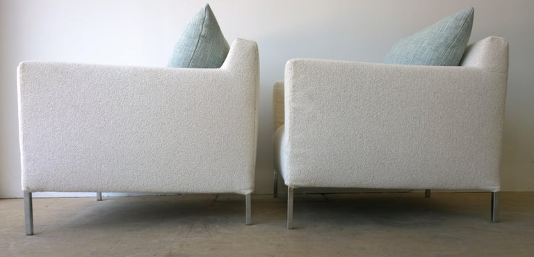 Contemporary Pr B&B Italia Lounge Chairs w/ Chrome Legs & New White Upholstered Slip Covers For Sale