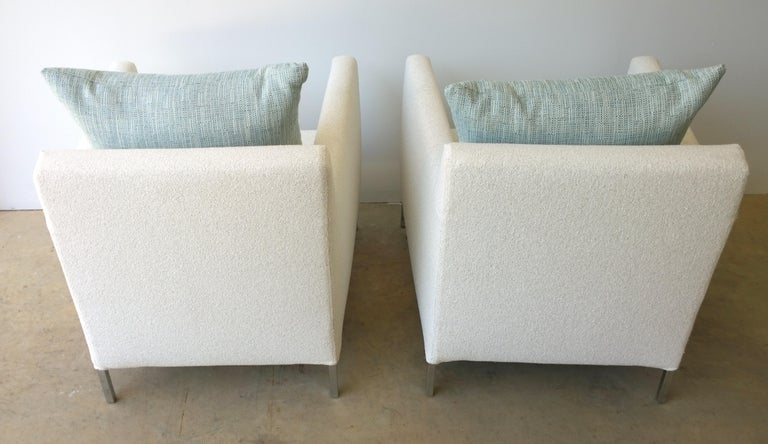Fabric Pr B&B Italia Lounge Chairs w/ Chrome Legs & New White Upholstered Slip Covers For Sale