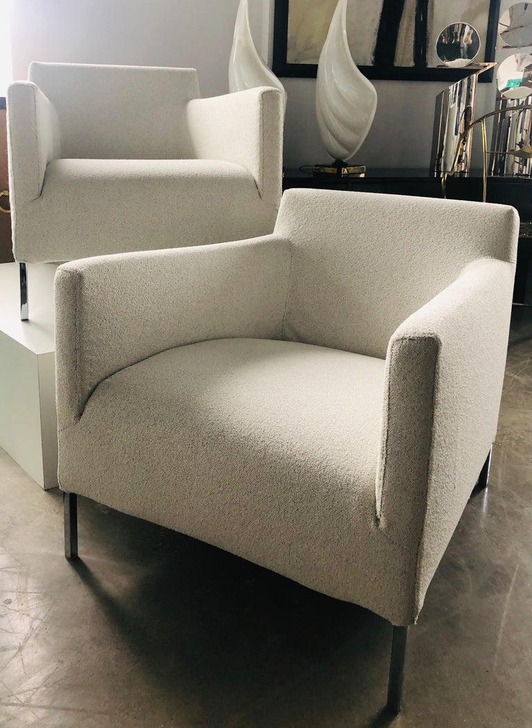 Pr B&B Italia Lounge Chairs w/ Chrome Legs & New White Upholstered Slip Covers For Sale 9