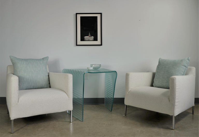 Pr B&B Italia Lounge Chairs w/ Chrome Legs & New White Upholstered Slip Covers For Sale 13