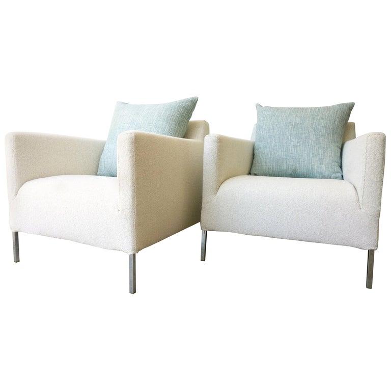 Pr B&B Italia Lounge Chairs w/ Chrome Legs & New White Upholstered Slip Covers For Sale