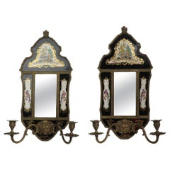 Pr. Brass Chinoiserie and Porcelain Mirrored Sconces Marked William Lowe