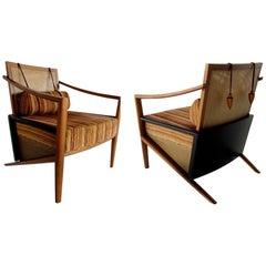 Pr Brazilian Modern Walnut, Cane & Ebonized Armchairs, Marcelo Manhago for Parma