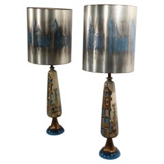 Pr. Brutalist Table Lamps with Original Silver Finish Shades after James Mont
