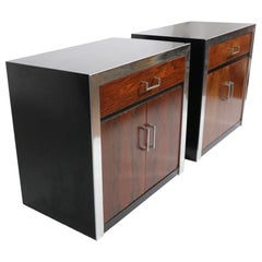 Pair of Burl Nightstands with Aluminum Trim and Black Cases after Baughman