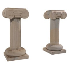 Pr. Carved Limestone Column Pedestals with Ionic Capitals