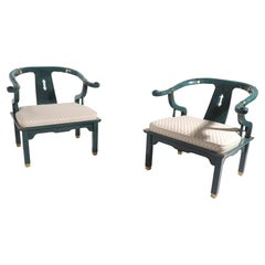 Pr. Chinese Modern Ox Bow Chairs in Faux Jade Finish by Century Furniture