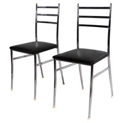 Pr. of Chrome Superleggera Chairs Retailed by W & J Sloane