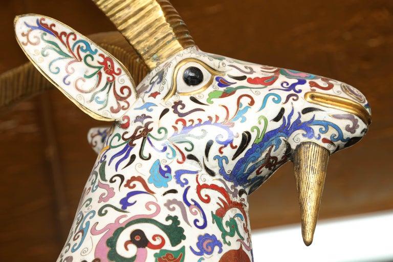 PR/Cloisonne Antique Pair of Rams 19th Century, China In Good Condition For Sale In Miami, Miami Design District, FL